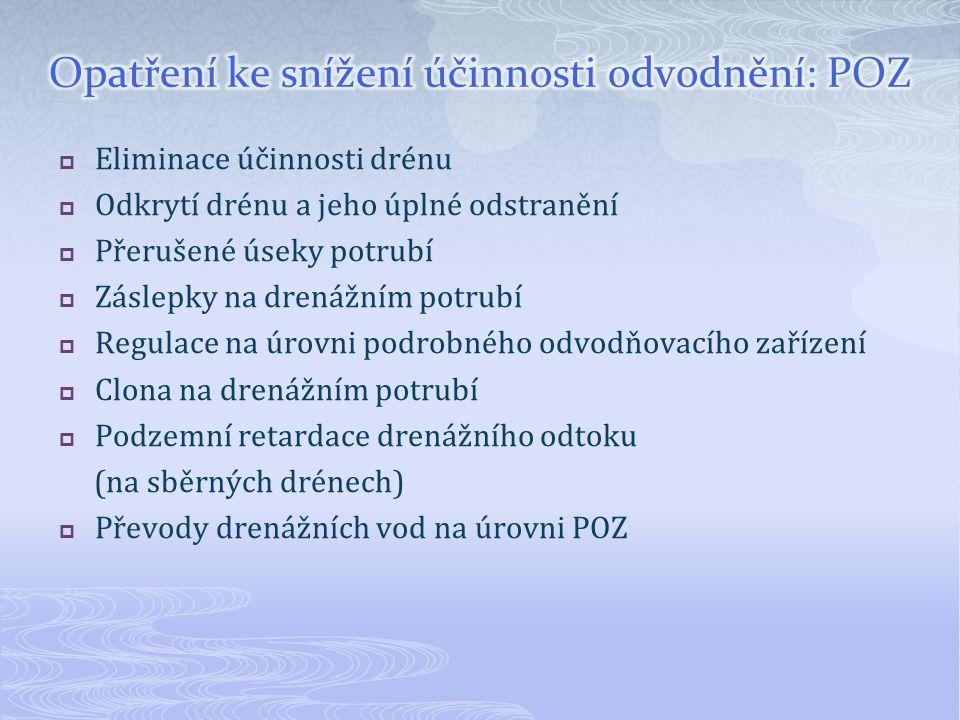 Opatření ke snížení účinnosti odvodnění: POZ