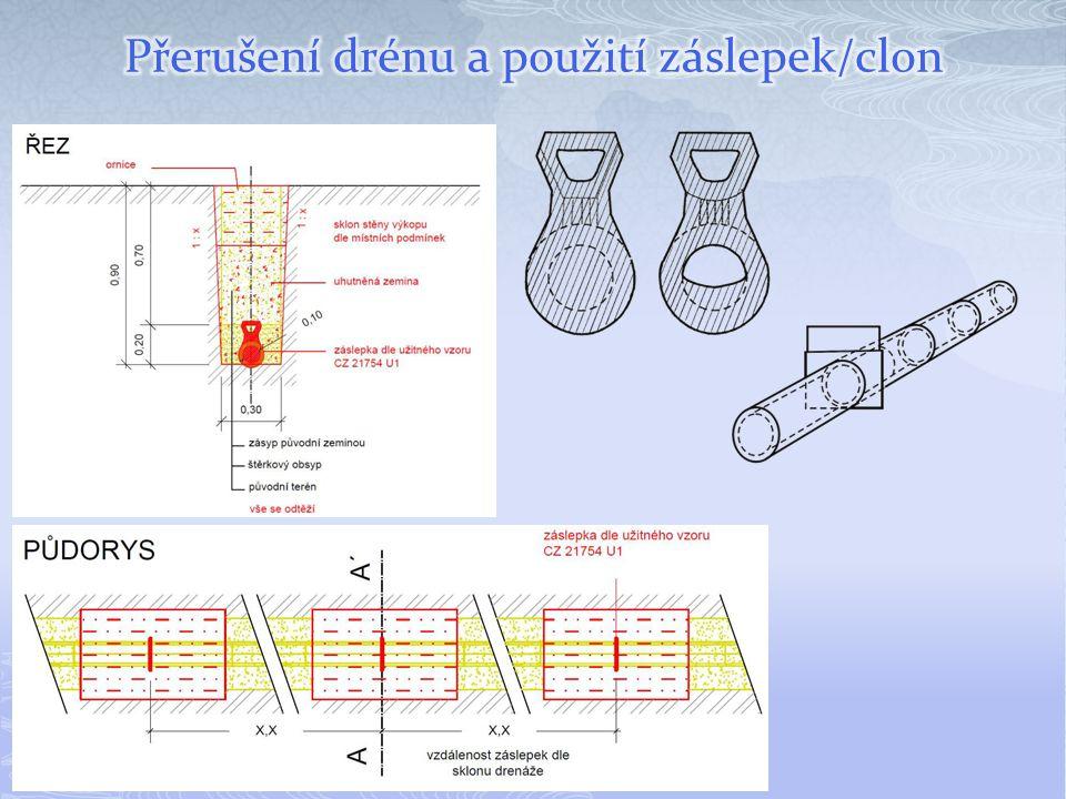 Přerušení drénu a použití záslepek/clon