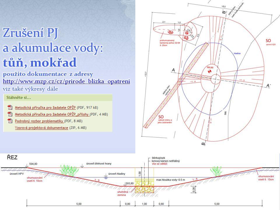 Zrušení PJ a akumulace vody: tůň, mokřad použito dokumentace z adresy http://www.mzp.cz/cz/prirode_blizka_opatreni viz také výkresy dále