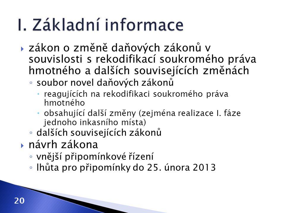 I. Základní informace zákon o změně daňových zákonů v souvislosti s rekodifikací soukromého práva hmotného a dalších souvisejících změnách.