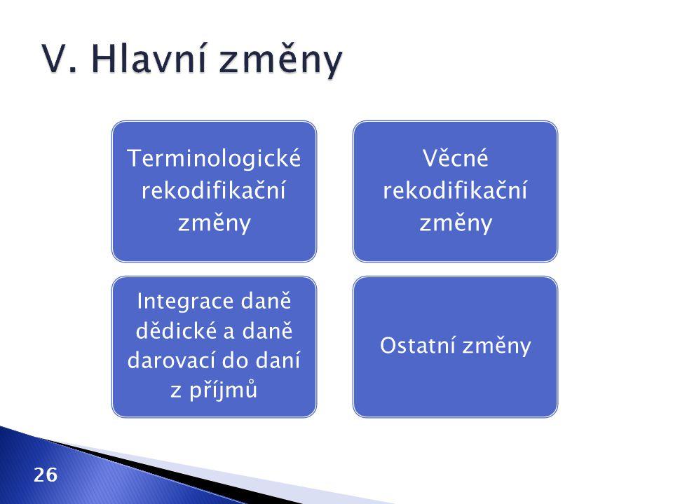 V. Hlavní změny Terminologické rekodifikační změny