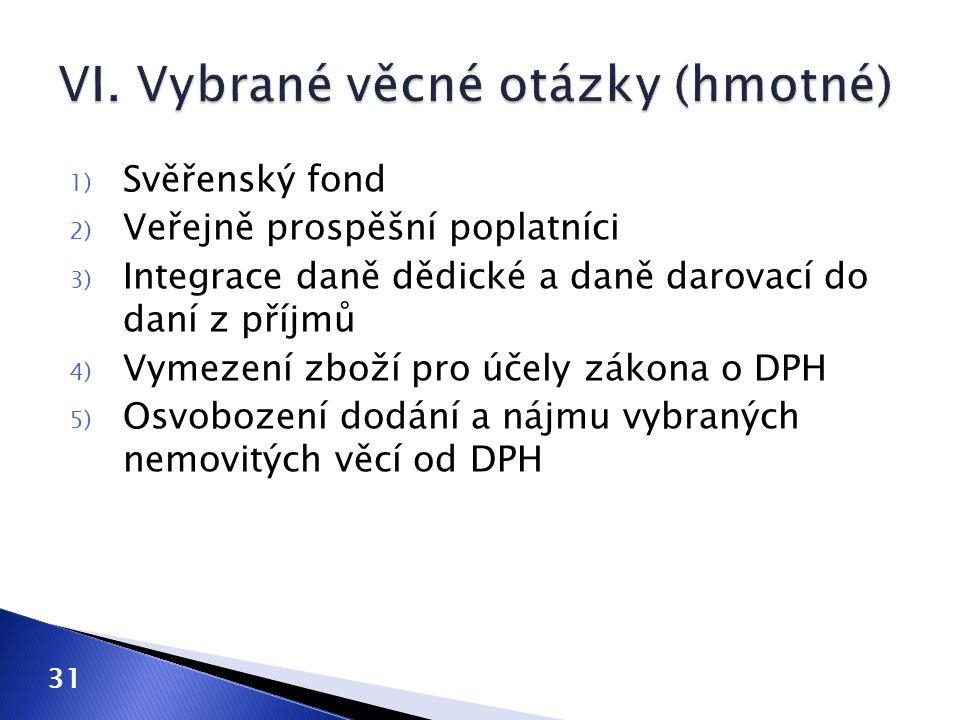 VI. Vybrané věcné otázky (hmotné)