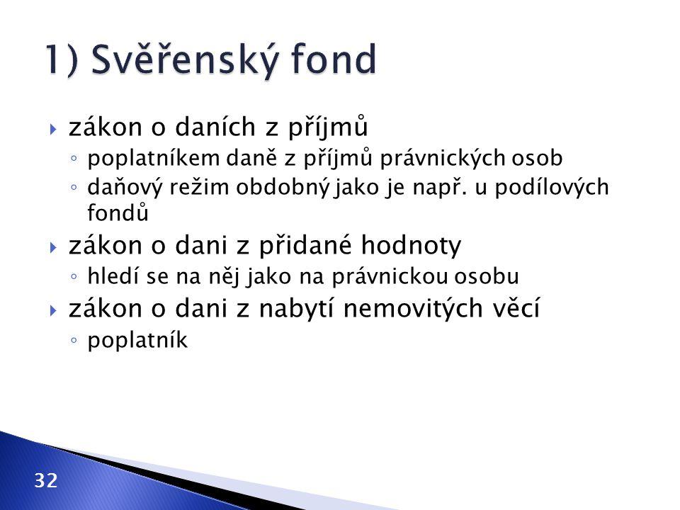 1) Svěřenský fond zákon o daních z příjmů