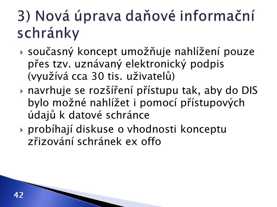 3) Nová úprava daňové informační schránky