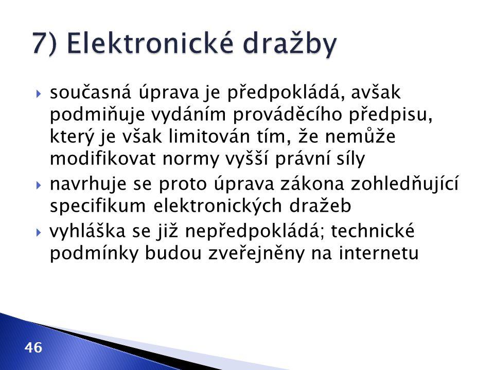 7) Elektronické dražby