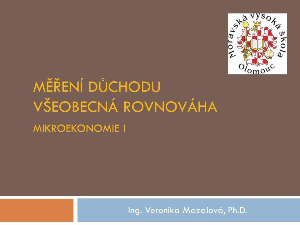 Měření důchodu všeobecná rovnováha Mikroekonomie I