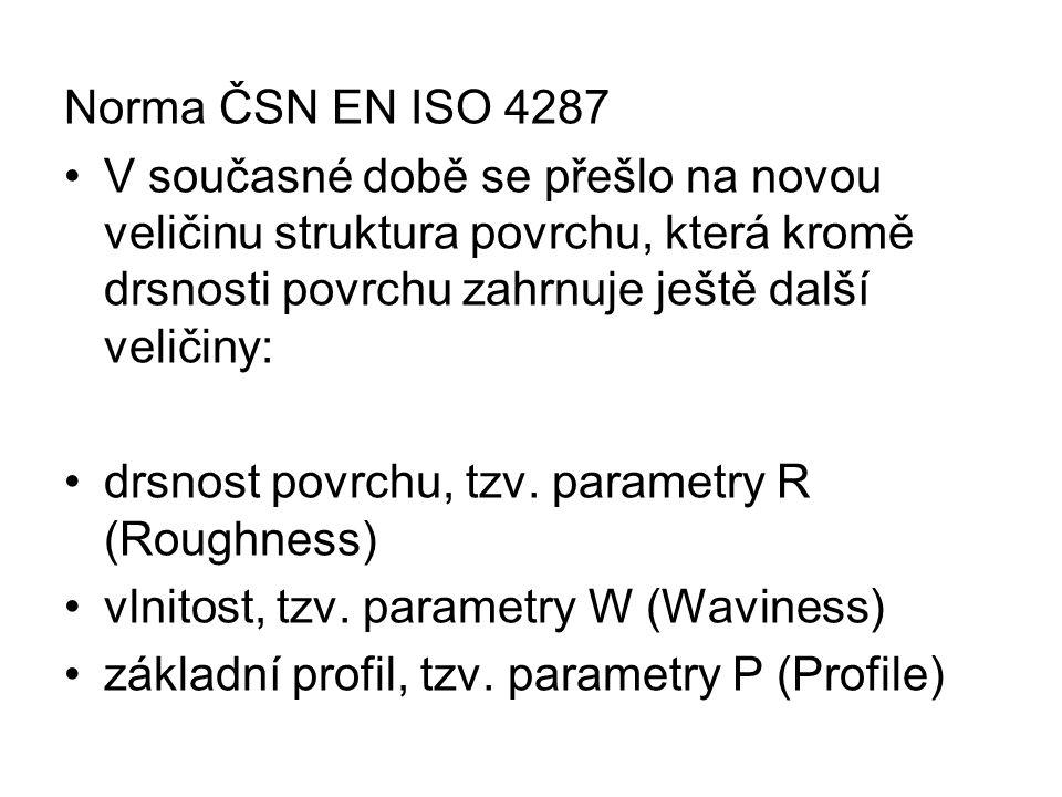 Norma ČSN EN ISO 4287 V současné době se přešlo na novou veličinu struktura povrchu, která kromě drsnosti povrchu zahrnuje ještě další veličiny: