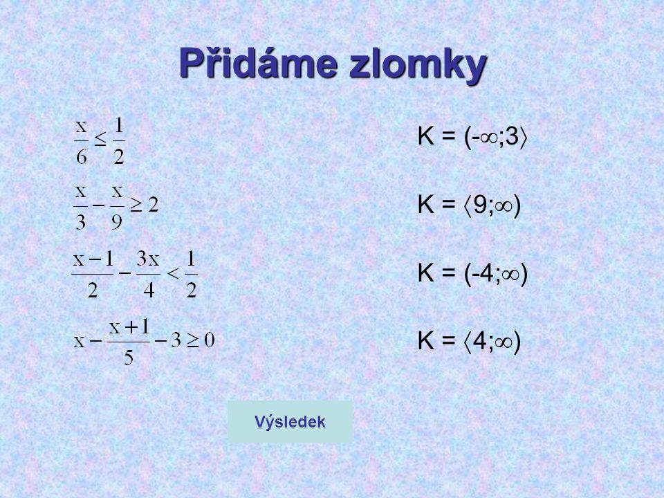 Přidáme zlomky K = (-;3 K = 9;) K = (-4;) K = 4;) Výsledek