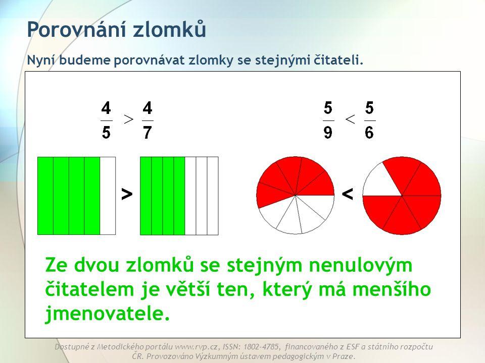 > < Porovnání zlomků
