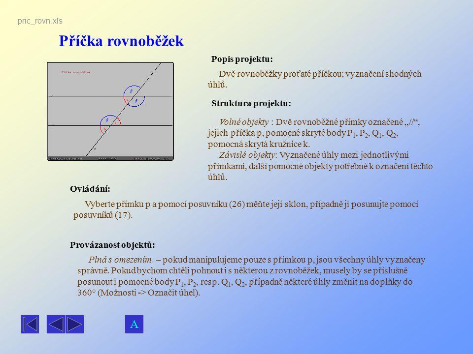 Příčka rovnoběžek A Popis projektu: