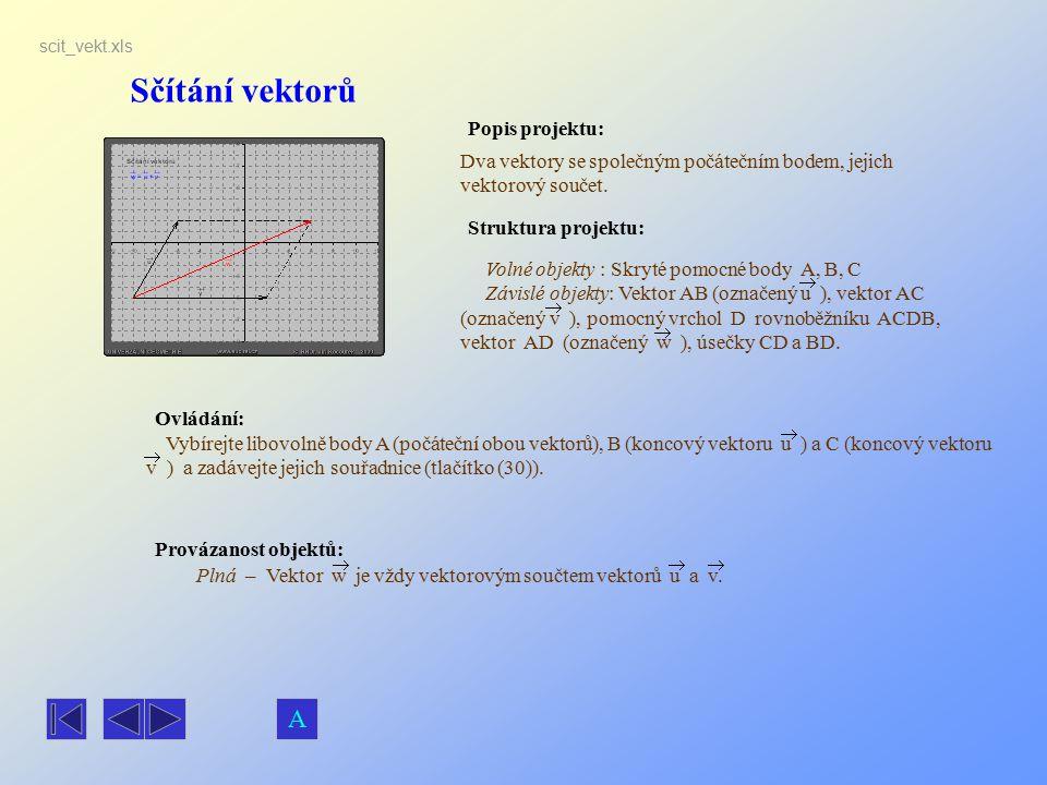 Sčítání vektorů A Popis projektu: