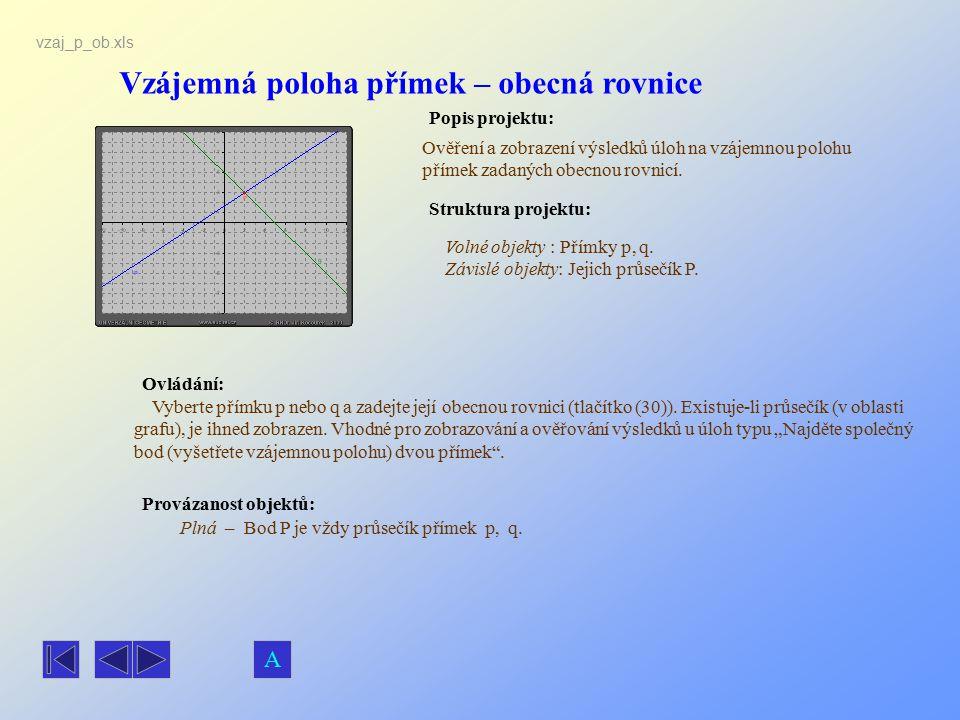 Vzájemná poloha přímek – obecná rovnice
