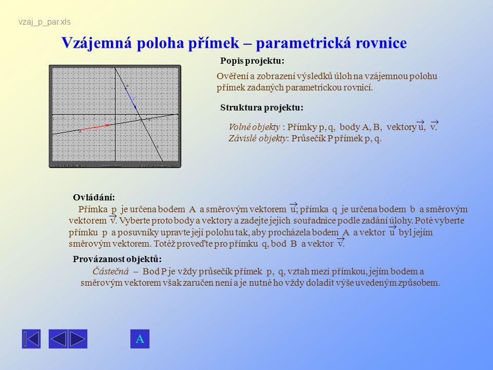 Vzájemná poloha přímek – parametrická rovnice