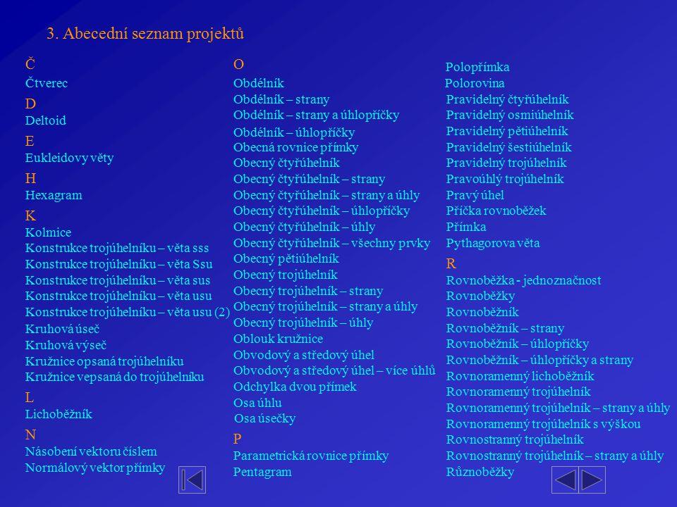 3. Abecední seznam projektů