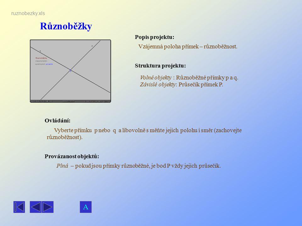 Různoběžky A Popis projektu: Vzájemná poloha přímek – různoběžnost.