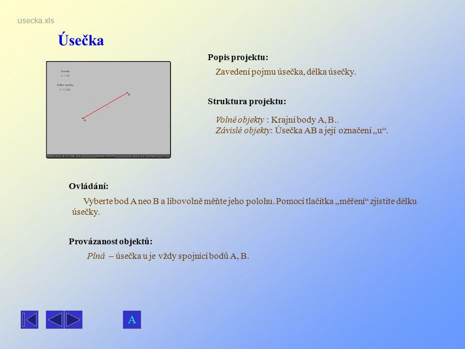 Úsečka A Popis projektu: Zavedení pojmu úsečka, délka úsečky.