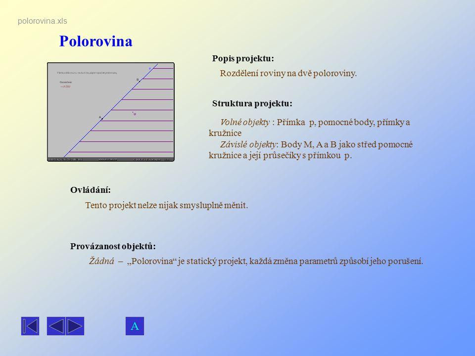 Polorovina A Popis projektu: Rozdělení roviny na dvě poloroviny.