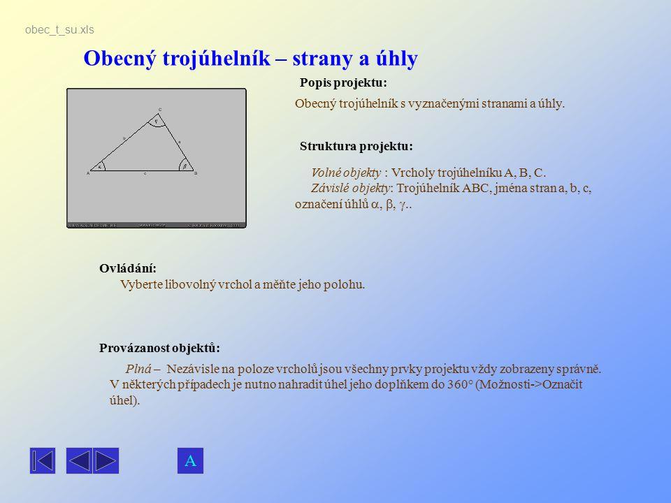 Obecný trojúhelník – strany a úhly