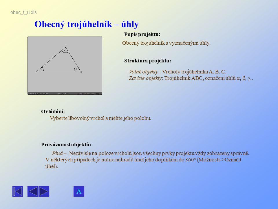 Obecný trojúhelník – úhly