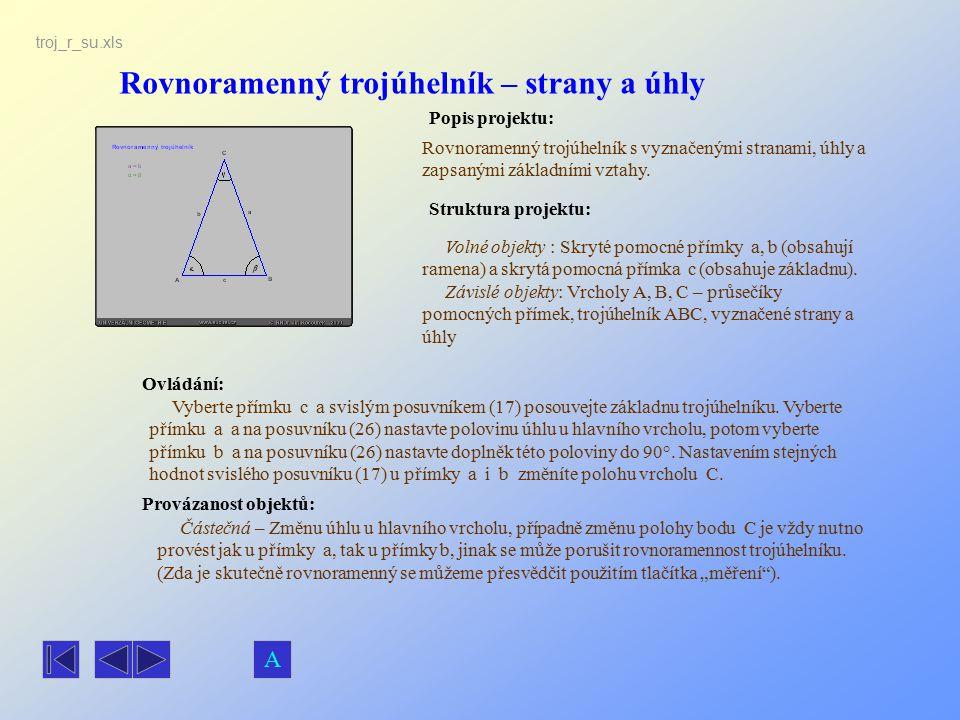 Rovnoramenný trojúhelník – strany a úhly
