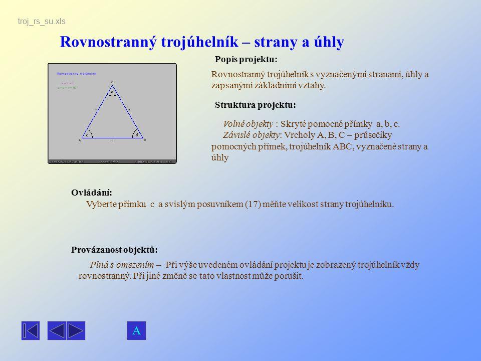 Rovnostranný trojúhelník – strany a úhly
