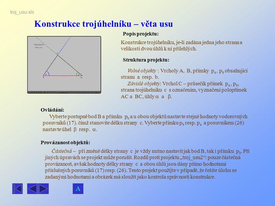 Konstrukce trojúhelníku – věta usu