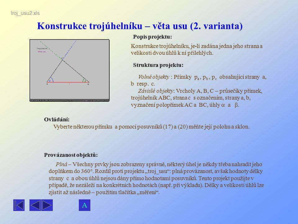 Konstrukce trojúhelníku – věta usu (2. varianta)
