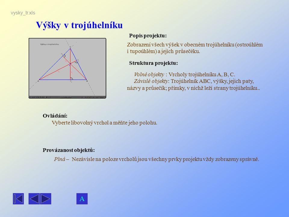 Výšky v trojúhelníku A Popis projektu: