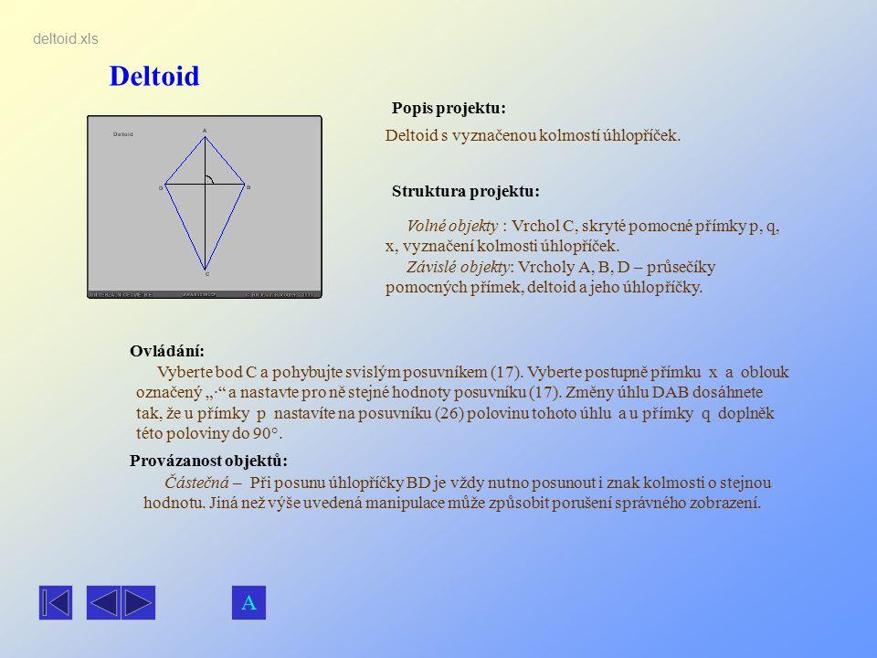 Deltoid A Popis projektu: Deltoid s vyznačenou kolmostí úhlopříček.