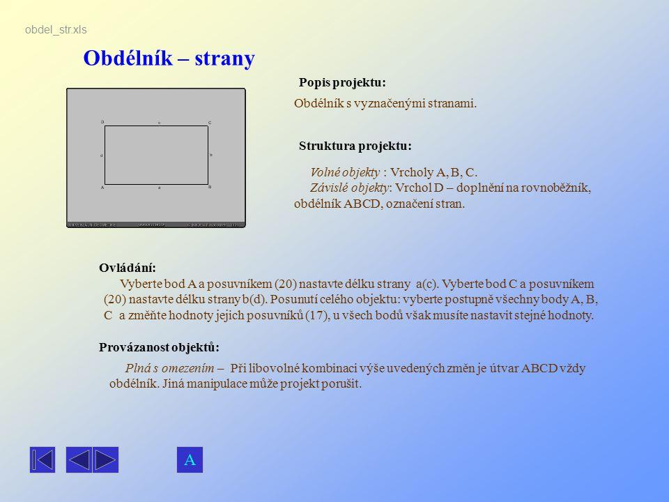 Obdélník – strany A Popis projektu: Obdélník s vyznačenými stranami.