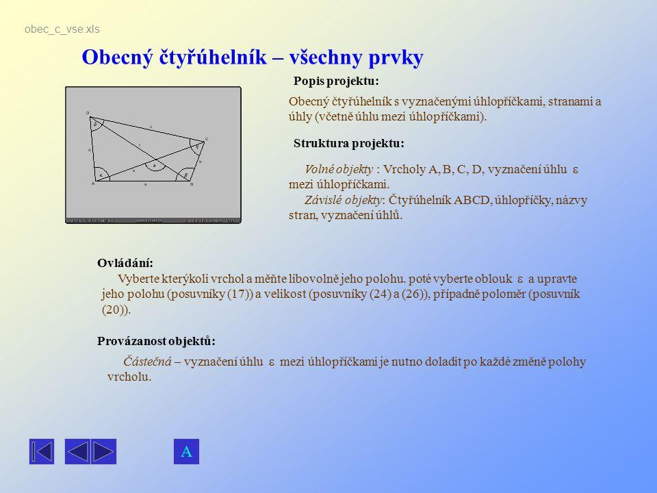 Obecný čtyřúhelník – všechny prvky