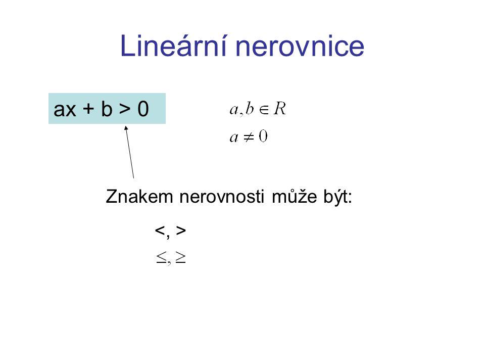 Lineární nerovnice ax + b > 0 Znakem nerovnosti může být: