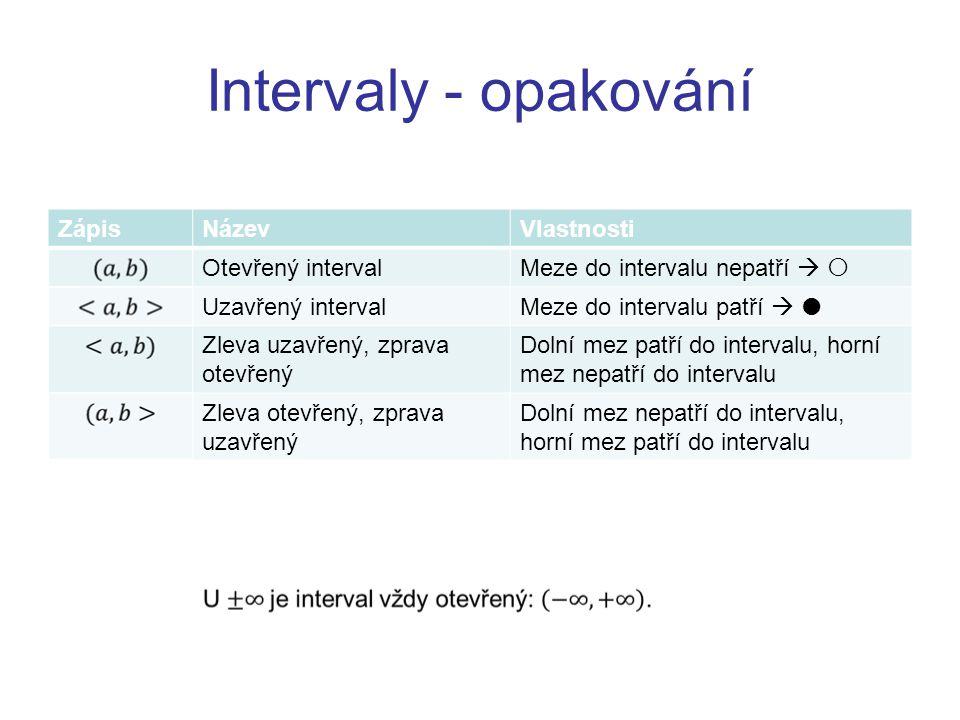 Intervaly - opakování Zápis Název Vlastnosti Otevřený interval