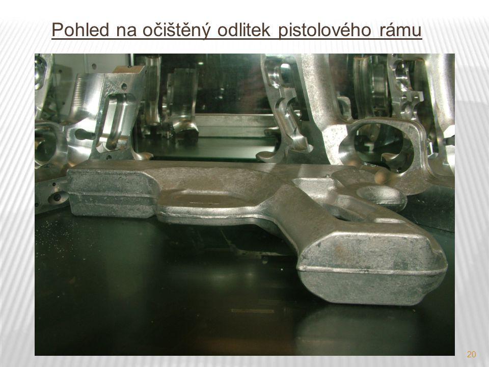 Pohled na očištěný odlitek pistolového rámu