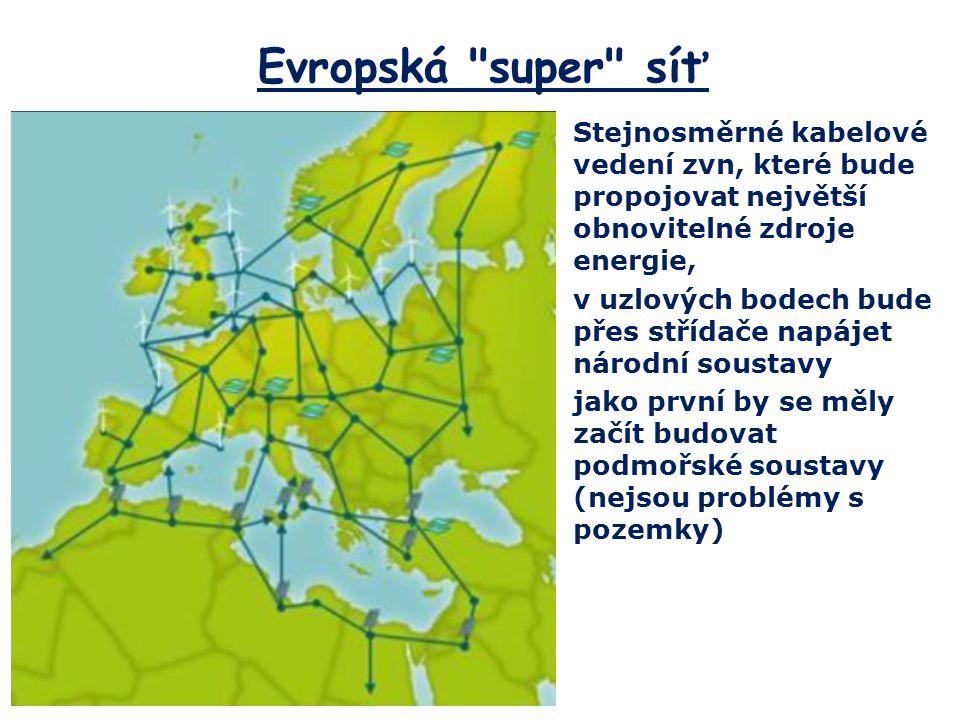 Evropská super síť Stejnosměrné kabelové vedení zvn, které bude propojovat největší obnovitelné zdroje energie,