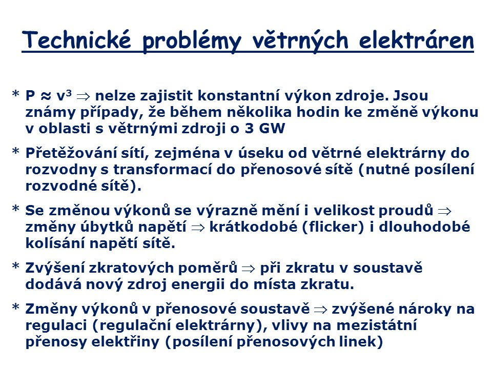 Technické problémy větrných elektráren