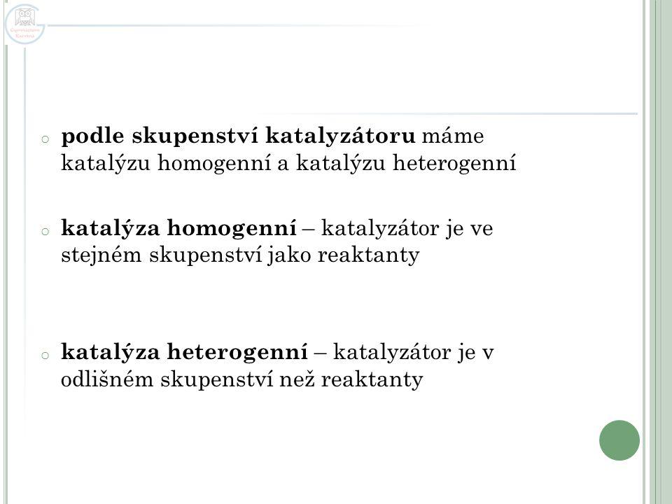 podle skupenství katalyzátoru máme katalýzu homogenní a katalýzu heterogenní