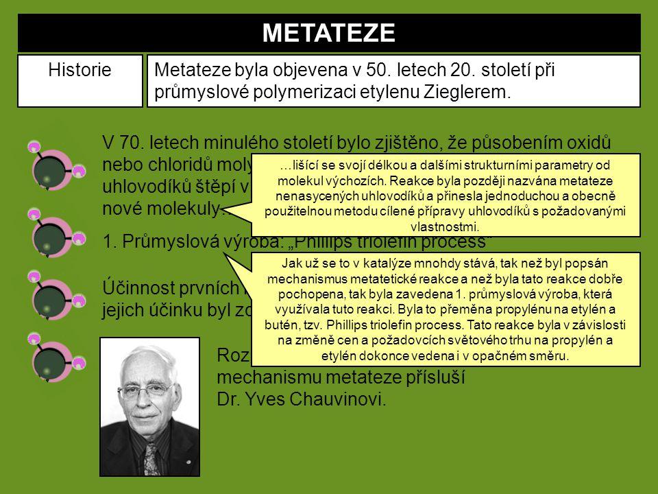 METATEZE Historie. Metateze byla objevena v 50. letech 20. století při průmyslové polymerizaci etylenu Zieglerem.