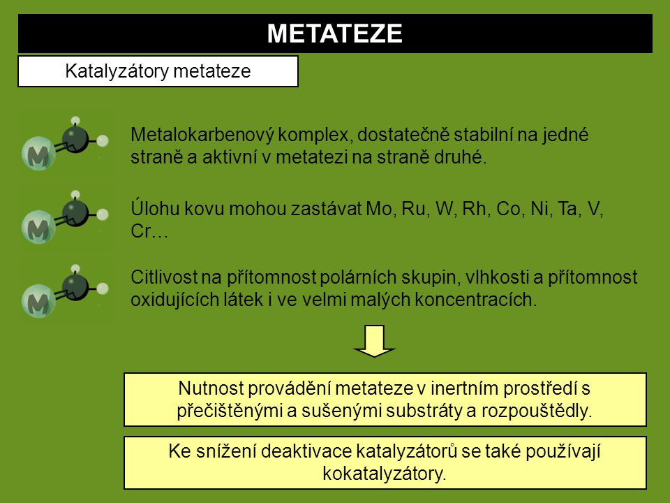 METATEZE Katalyzátory metateze