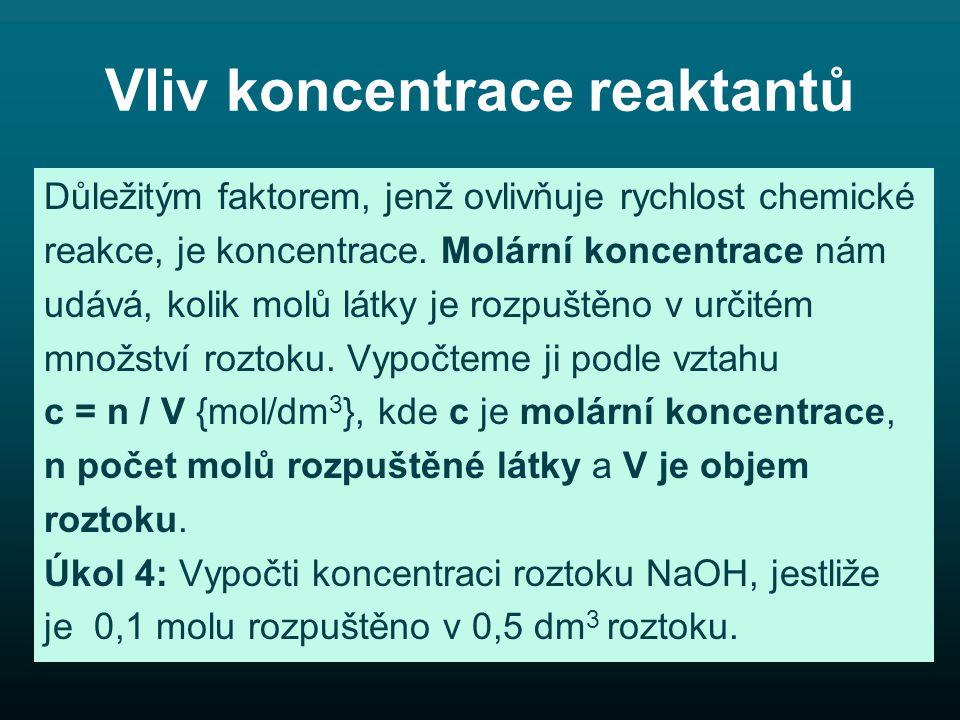 Vliv koncentrace reaktantů