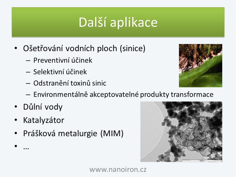 Další aplikace Ošetřování vodních ploch (sinice) Důlní vody