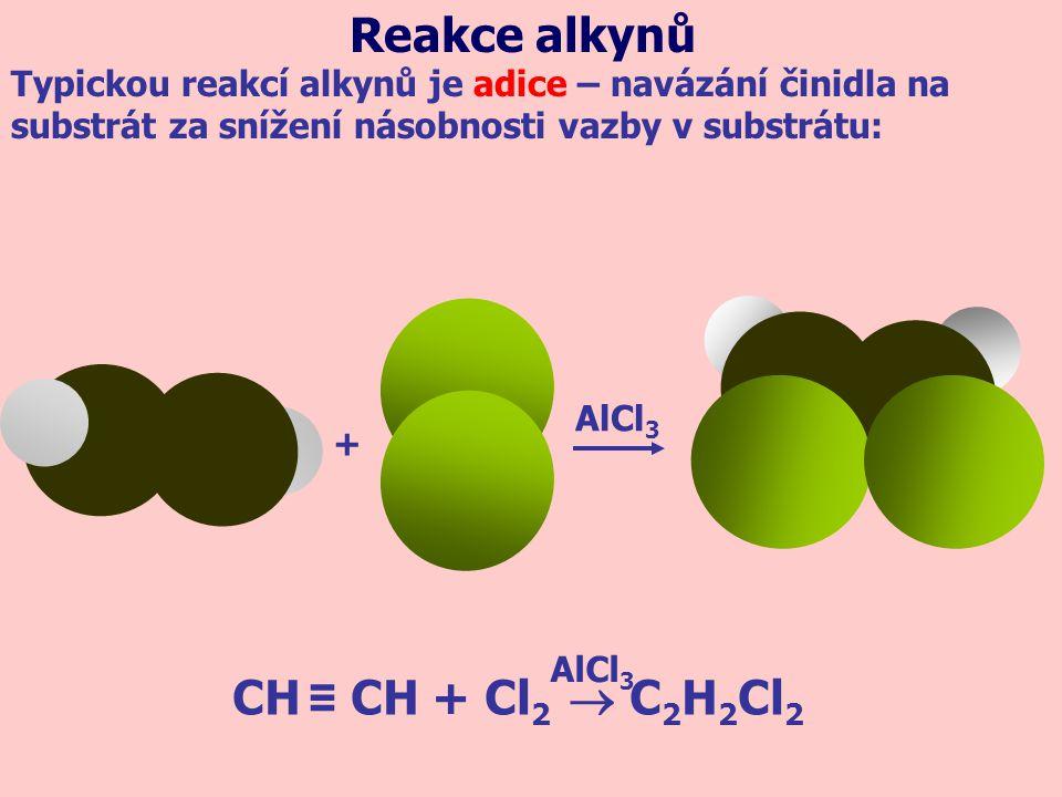 Reakce alkynů CH ≡ CH + Cl2  C2H2Cl2