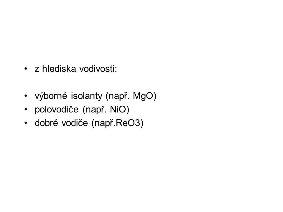 z hlediska vodivosti: výborné isolanty (např. MgO) polovodiče (např. NiO) dobré vodiče (např.ReO3)