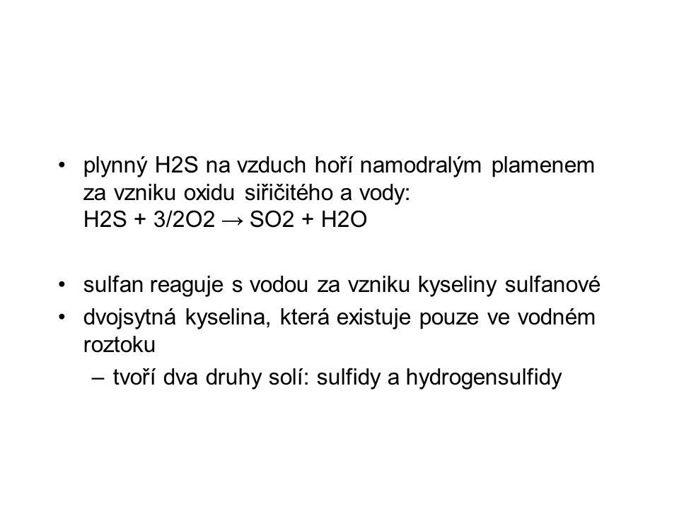 plynný H2S na vzduch hoří namodralým plamenem za vzniku oxidu siřičitého a vody: H2S + 3/2O2 → SO2 + H2O