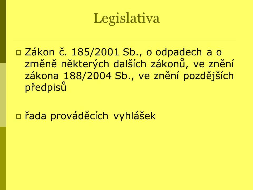 Legislativa Zákon č. 185/2001 Sb., o odpadech a o změně některých dalších zákonů, ve znění zákona 188/2004 Sb., ve znění pozdějších předpisů.