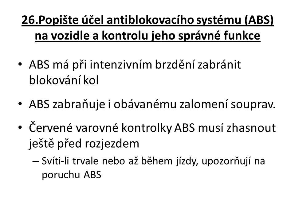 ABS má při intenzivním brzdění zabránit blokování kol