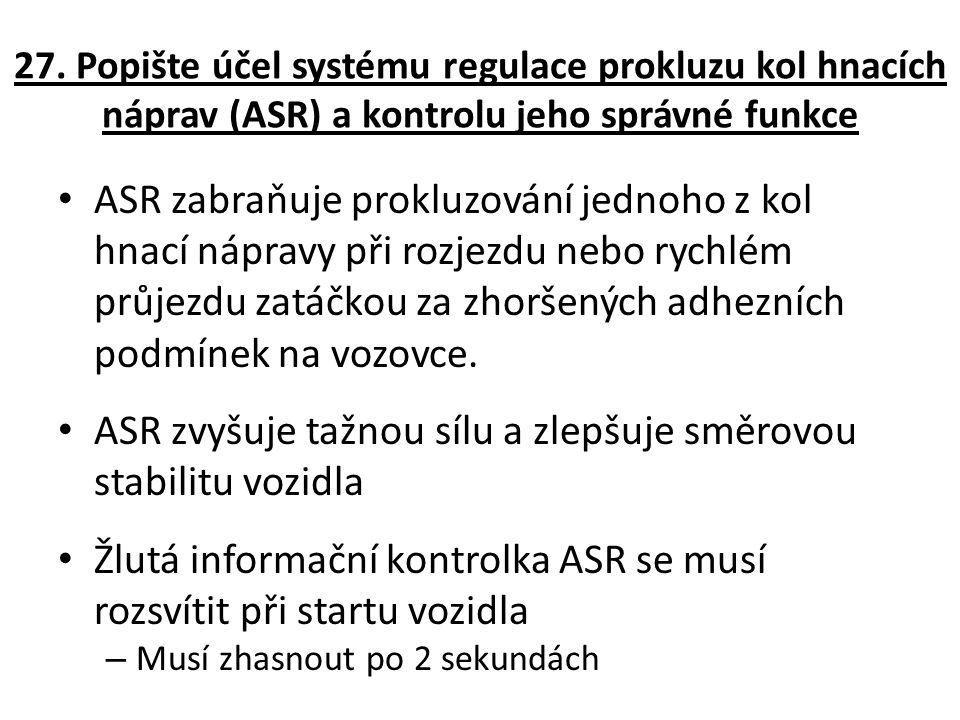 ASR zvyšuje tažnou sílu a zlepšuje směrovou stabilitu vozidla