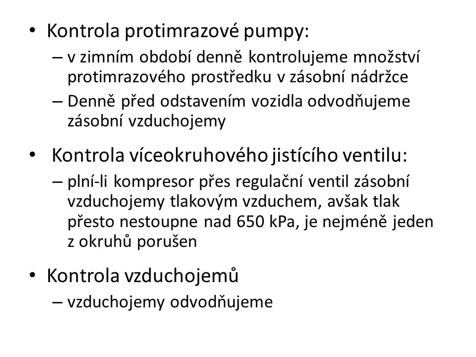 Kontrola protimrazové pumpy: