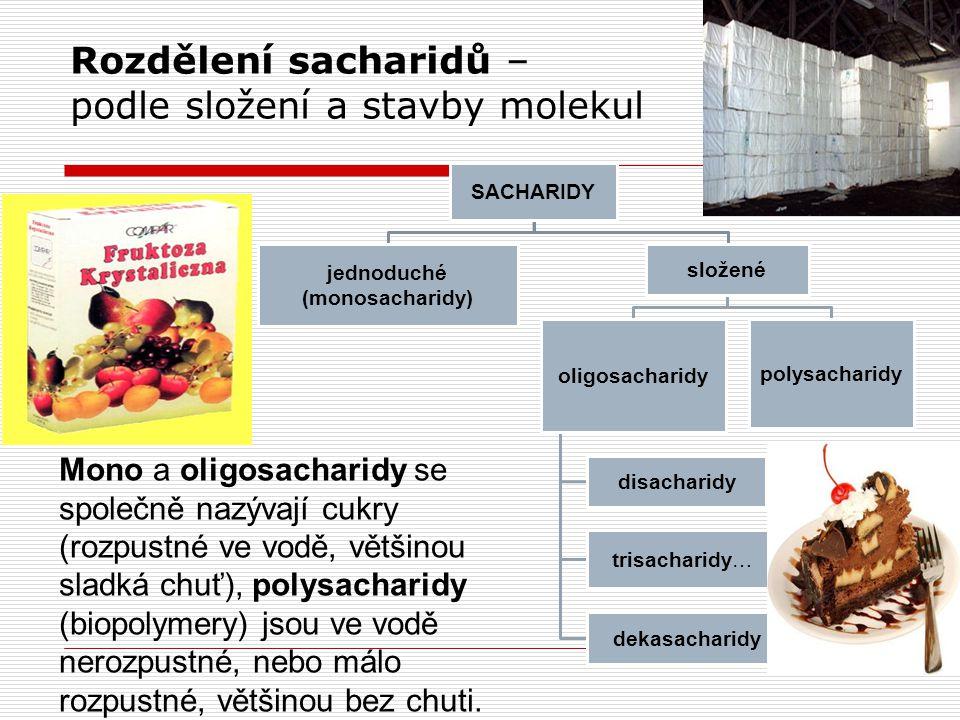 Rozdělení sacharidů – podle složení a stavby molekul