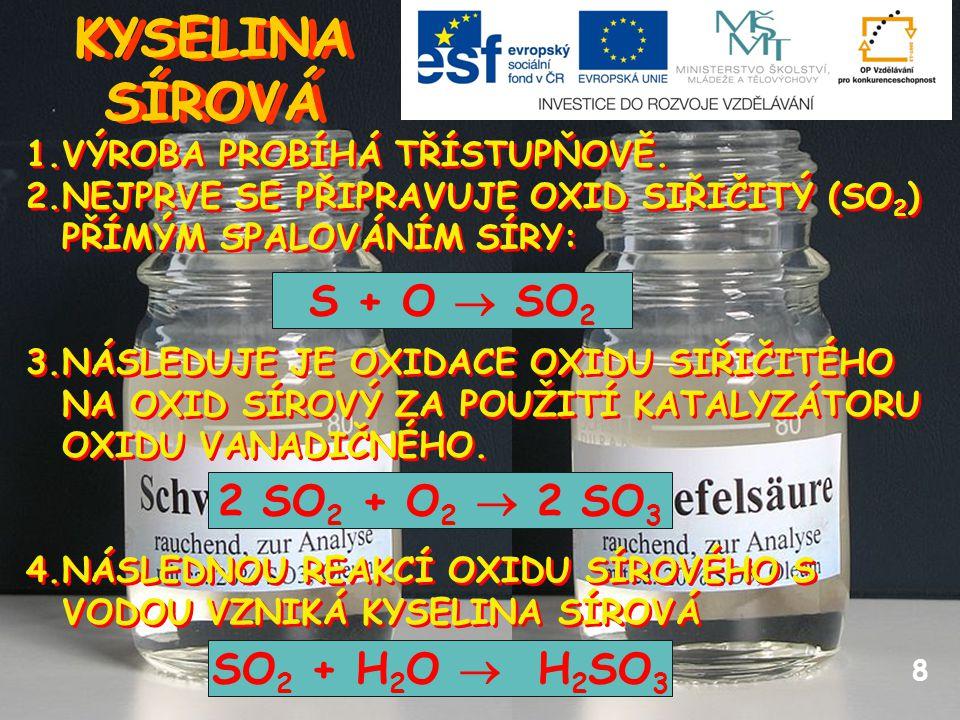 KYSELINA SÍROVÁ S + O  SO2 2 SO2 + O2  2 SO3 SO2 + H2O  H2SO3